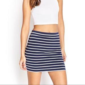 Forever 21 Navy Striped Bodycon Mini Skirt